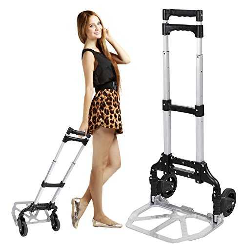 Multi-function Hand Cart, Heavy Duty Aluminum Portable Luggage Trolley Stands with Rubber Wheels (150lbs)