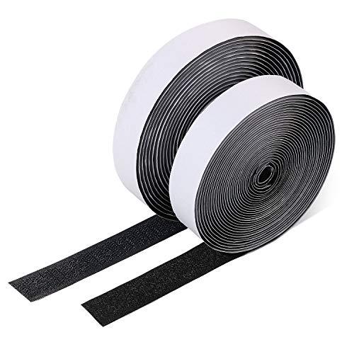 Vicloon Cinta de Gancho y Bucle Adhesivo,20mm Ancho 5 M Largo Juego Sistema de Enganche y Sujeción auto Adhesivo con Reverso Súper Adherente Tela de Nylon Sujetadora (Negro-5M)