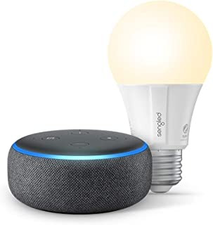 Echo Dot (3rd Gen) - Smart speaker with Alexa - Charcoal with Sengled Bluetooth bulb