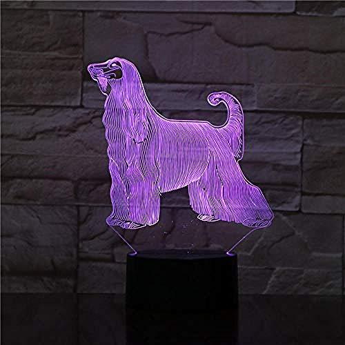 3D Nachtlicht Afghan Hound Dog Schreibtischlampe Nacht Illusion 7 Farbwechsel Raum Dekorative Lampe Kind Kind Baby Kit Led Hund Geschenk Fernbedienung