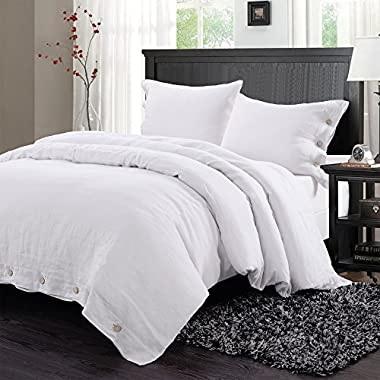 Simple&Opulence 100% Washed Linen Coconut Wood Deduction Solid Grey Bedding Set with 1 Duvet Cover 2 Pillowcases (Queen, White)