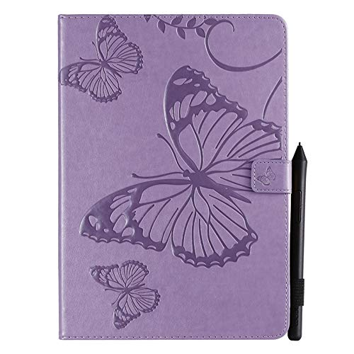Wangqianli Compatible With IPad 10.2 2019 (7th Generation) Butterfly Flower Floral Pattern PU Leather Wallet Stand Tablet Case (Color : Purple)