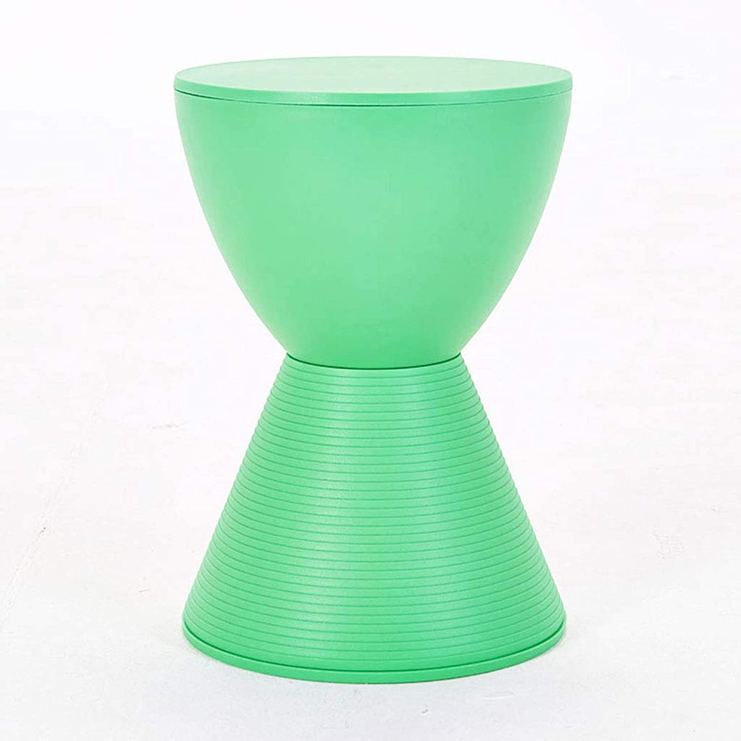HY Stool Nordic Plastic Living Room Sofa Change shoes Stool Hourglass Shape (color   Green, Size   L30CMXW30CMXH42CM)
