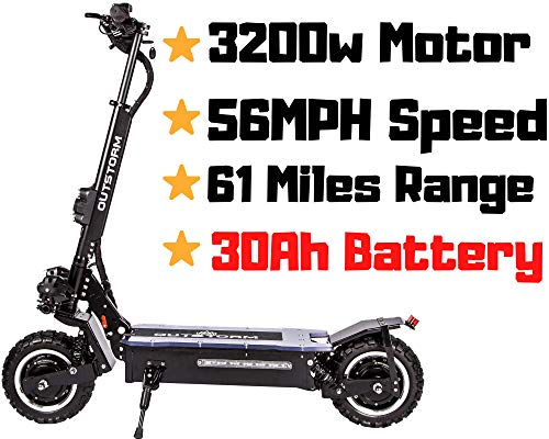 maxx OUTSTORM 60MPH Ultra High Speed Electric Scooter for Adults Foldable, 5000W Power Dual Motor| 60V /38.5Ah Battery | 83 Miles Range | Grade 30° (Black/ 3200w Motor/ 30Ah Battery/ 61 Miles Range)