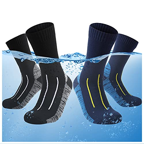 2 Pairs 100% Waterproof socks for Men and Women Hiking, Wading, Skiing, Trekking, Fishing and Outdoor Work, Unisex Breathable Water Proof Sock