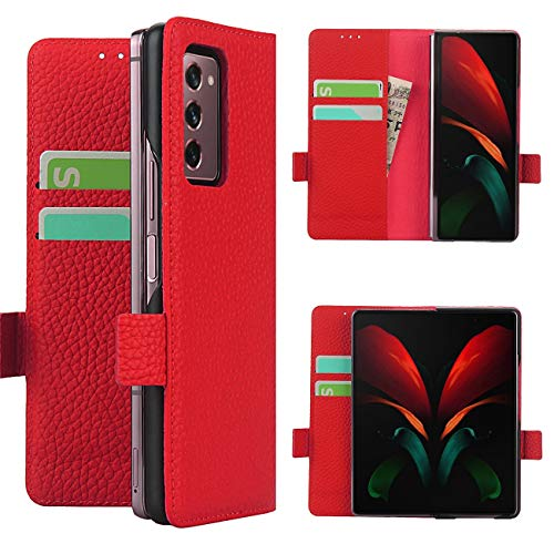 Copmob Samsung Galaxy Z Fold2 5G Hülle,Echtes Leder Flip Brieftasche Handyhülle,[3 Slots][Magnetknopf][Bracket-Funktion],Ledertasche Schutzhülle for Samsung Galaxy Z Fold2 5G - Rot