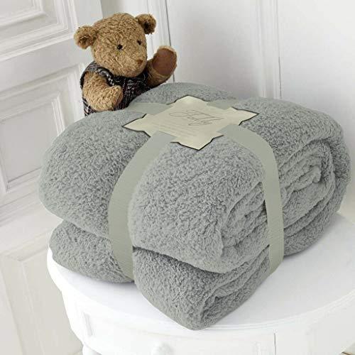 Hachette Teddy-Fleece-Überwurf, Decke, weich, warm, Überwurf über Sofa, Bett, Reise, Tagesdecke, Decke (Grau Silber, King - 200 x 240 cm)