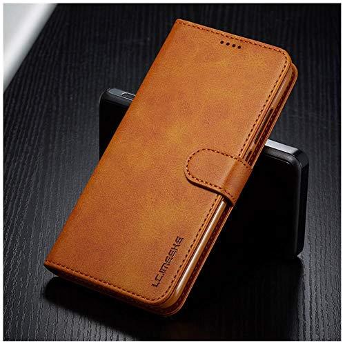Lianli Lederhülle für Xiaomi Redmi 7 A 7A, Handyhülle auf Xiomi Redmi Note 7 Pro F&a Luxe Wallet Flip Cover Redmi7 Handyschale, Hellbraunes Gehäuse, Redmi Note 7 (Pro)