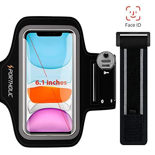 Sportarmband Handy, PORTHOLIC Schweißfest Sport Armband für iPhone 11 11 Pro XR XS X, iPhone SE 2020, für Joggen Radfahren Wandern, mit Verlängerungsband, Bis zu 6.1