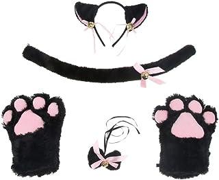 Baoblaze Cute Cat Cosplay Costume Kitten Tail Ear Collar Paws Gloves Anime Lolita Set