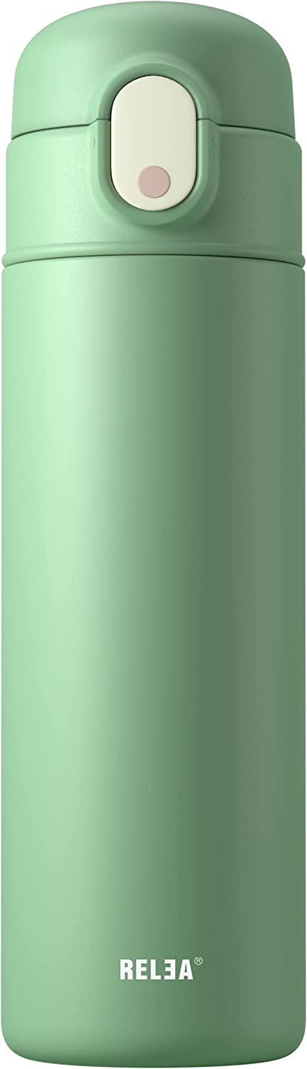 18 Oz Insulated Water Bottles with Straw Stainless Steel Water Bottles with Straws BPA Free, Sport Drinking Container (Green)