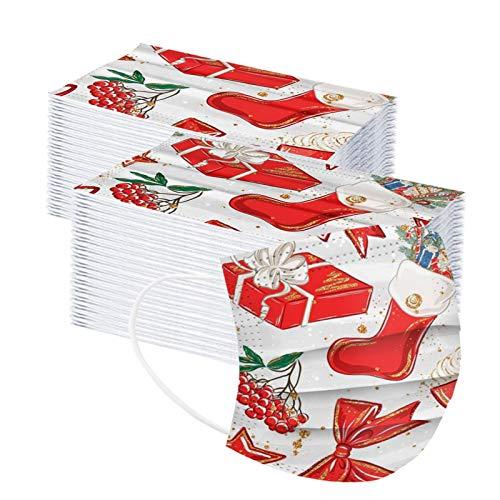 Tomatoa 100 Stück Einmal-Mundschutz, Erwachsene, Weihnachts Drucken Staubs-chutz Atmungsaktive Mundbedeckung, Bandana Face-Mouth Cover Sommerscha