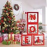 Navidad NOEL Caja Transparente Globos,Adornos Navideños Bloques Rojos de Noel Decoraciones De Recortes Navidad para Fiesta Navidad Hogar Tienda Decoraciones -Reutilizable Favores Caja de Regalo