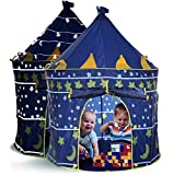 LimitlessFunN Kids Play Tent with Star Lights & Carrying Case [ Pop Up Portable Glow in The Dark Stars Blue ] Children Castle Playhouse for Girls & Boys, Indoor & Outdoor