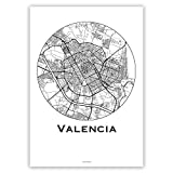 Plakat Valencia Spanien Minimalist Map - Poster, City Map,