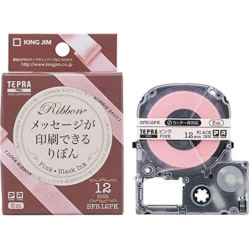 KIN JIM テプラPRO・カラーラベル(りぼん) ピンク/黒文字 12mm SFR12PK