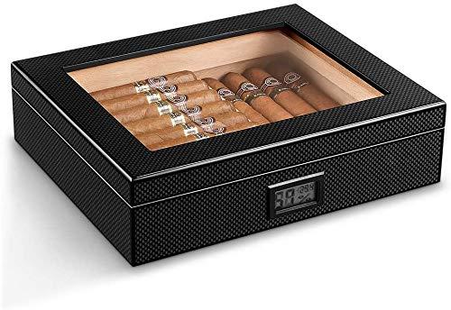 Caja de cigarrillo de cedro portátil, humidor de madera de superficie mate con humidificador y higrómetro digital, mantenga los cigarros 35pcs, para los amantes del cigarro de cigarrillos Mengheyuan