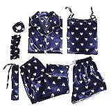 Sheey Juego de 7 Piezas Conjunto de Pijama de Seda Hielo para Mujer, Ropa de Dormir Cómoda y Suave para Primavera Verano Otoño Invierno Fiesta, Inicio