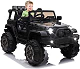 OTTARO Kids Ride on Truck, Children Electric Ride on Car w/Parent Remote Control, 12V Battery Powered Driving Trucks Cars for Boys and Girls, Spring Suspension, MP3 Player (Black)