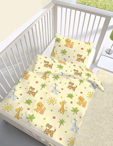 Ido Parure de lit bébé en coton renforcé Motif jungle animaux 100 x 135 + 40 x 60 cm