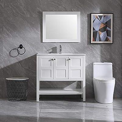 "Wonline 36"" Bathroom Vanity and Sink Combo Cabinet Undermount Ceramic Vessel Sink Chrome Faucet Drain with Mirror and Shelf Vanities Set"