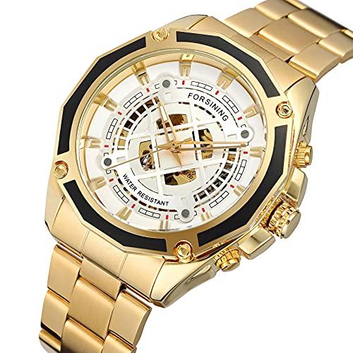 Excellent Relojes mecánicos automáticos de los Hombres Reloj de Reloj de Pulsera analógico con Correa de Acero Inoxidable Deportes Esqueleto,A08