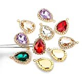 Choupee Teardrop Rhinestone Pendant Charms, Water Drop Pendant with A Halo Of Clear Rhinestones, Earring Findings, Jewelry Component (Multicolored, 1318MM)
