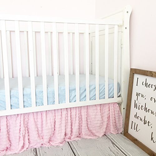 Pink Tiered Ruffled Crib Skirt Baby Girl Nursery Bedding Dust Ruffle avisiontoremember