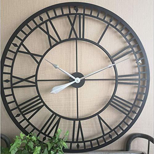 WQSFD Wanduhr Retro schwarz römische Ziffern runde Wand Groß Wanduhr Uhr Metall Wohnzimmer Küche Restaurant Schlafzimmer Wanduhr,C(80cm)