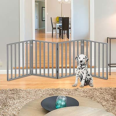 "PETMAKER 80-62875-G4 Wooden Pet Gate- Foldable 4-Panel Indoor Barrier Fence, Freestanding & Lightweight Design for Dogs, Puppies, Pets- 72 X24 (Gray Paint), 72"" X 24"""