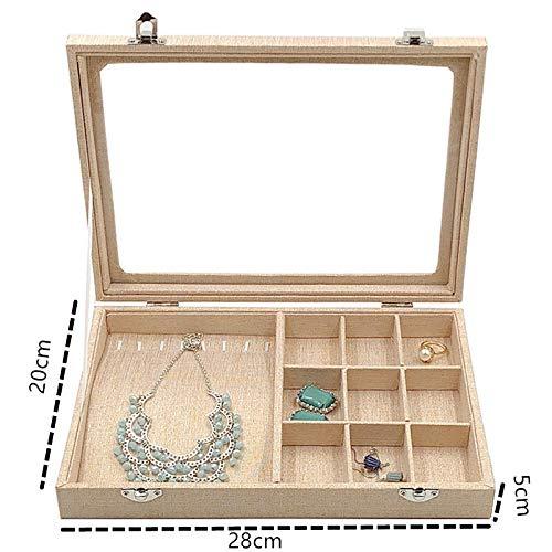 Starry Sky fluwelen draagtas met glazen glazen sieraad ring display box houder bewaardoos organisator oorbel ring armband
