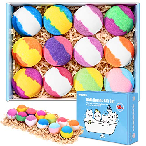 Bath Bombs Gift Set, 12-Pieces Handmade Fizzy Bubble Bath Bombs, Vegan & Cruelty Free, Perfect for Bubble and Spa Bath, Birthday Mothers Day Gifts Idea for Her/Him, Wife, Girlfriend