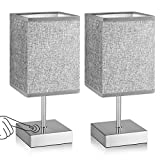 Touch Control Table Lamp Set of 2, 3 Way Dimmable Bedside Nightstand Lamps with Silver Metal Base & Grey Linen Fabric Shade, Modern Touch Lamps for Bedroom Living Room Office (E12 Bulbs Included)