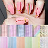 EBANKU 12 Sheets 3D Strip Line Nail Stickers, Fluorescent Laser Colorful Adhesive Striping Tape Nail Design for Women Girls Nail Art Decoration