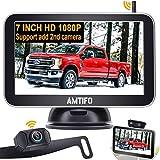 Backup Camera Wireless for Truck HD 1080P Car Bluetooth Backup Camera 7 Inch Monitor Rear View Camera Kit with Digital Signal,Support Add 2nd RV Camera/Licence Plate Backup Camera - AMTIFO AM-W70