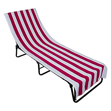 J&M Home Fashions Stripe Beach Lounge Chair Towel With Fitted Top Pocket (26x82 - Pink) Soft, Absorbent, and Fast Drying for covering Pool Chairs While Swimming, Lounging, or Tanning