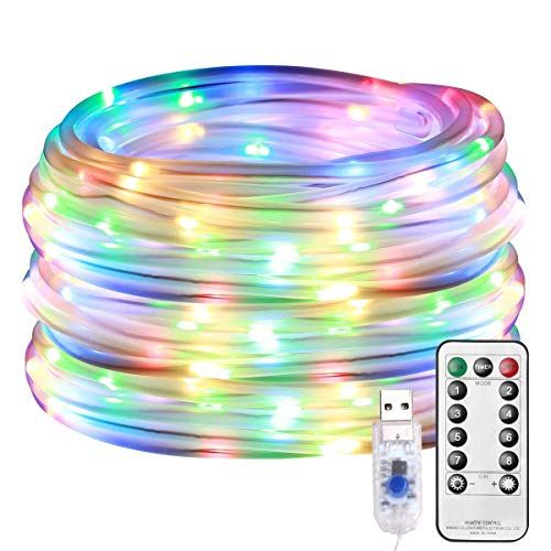 LE LED Rope Lights Outdoor, Multi Colored Indoor String Lights with Remote, 8 Modes, Waterproof, 33ft 100 LED USB Powered Fairy Lights for Bedroom, Garden, Patio, Kids Room, Deck, Christmas Decoration