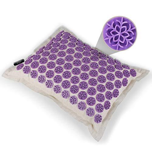 INTEY almohada de acupresión 40 x 15cm almohada de acupresión para cuello para masaje Lino algodón alivio del dolor mejor sueño más profundo