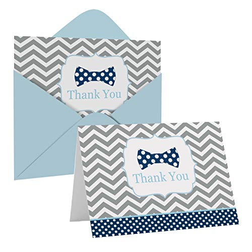 Bow Tie Thank You Cards and Envelopes (20 Pack) – Thanking for Baby Shower – Gender Reveal - Birthday – Everyday – Little Man Party Supplies – Folded Set – Blue Grey