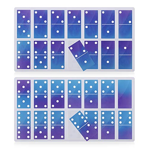 Silicone Domino Resin Molds, Gartful 2PCS Domino Game Casting Molds, Silicone Epoxy Resin Molds for DIY Arts Dominoes, Building Blocks, Stacking, Puzzle, Soaps, Candles, 28 Cavity