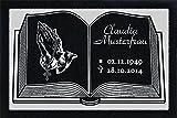 GRANIT Grabstein, Grabplatte oder Grabschmuck mit dem Motiv 'Buch-g02' und Ihrem Text/Daten von LaserArt24