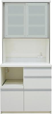 パモウナ 食器棚LF プレーンホワイト 幅90×高さ198×奥行50 日本製 LF-900R