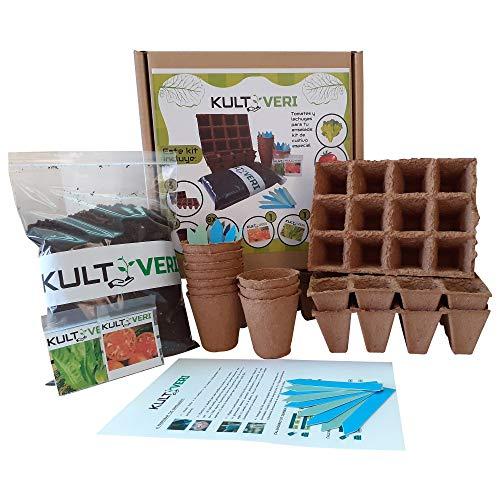 KULTIVERI Set de Cultivo de Lechugas y Tomates de 35 Piezas: Macetas y Semilleros de Germinación Biodegradables. CREA tu Huerto Urbano en Casa.