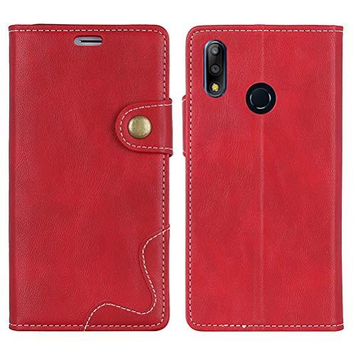 """EUDTH Capa Zenfone Max Pro (M2) ZB631KL, capa dobrável de couro sintético premium com suporte, compartimentos para cartão, fecho magnético, capa protetora para Asus Zenfone Max Pro (M2) ZB631KL 6,2"""" – Vermelho"""