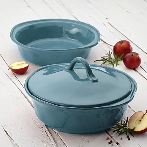 Rachael Ray 58314 Cucina Casserole Dish Set with Lid, 3 Piece, Agave Blue