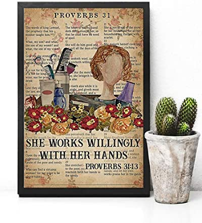 Wall Art Hanging Poster Painting Canvas She Work Willingly with Her Hand Proverbs 31 Vintage product image