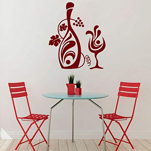 JXAA Keukendecoratie Portugese muursticker creatief ontwerp vaas glas wijn muur stickers afneembare stickers 59 x 69 cm