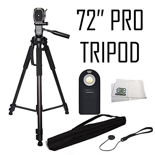 """Pro 72"""" Tripod 3-Way Panhead w/Bubble Leveling + Wireless IR Shutter Release + More for Sony a7 a7R a7s a7S II a7R II a9 a6000 a5100 NEX-5R NEX-5T NEX-6 NEX-7 NEX-C3 SLT-A35 SLT-A37 SLT-A55V Cameras"""