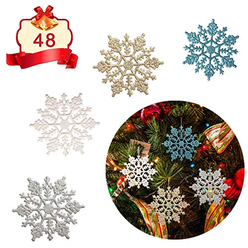 Adeeing Christmas Glitter Snowflake Ornaments, 48 Pieces Sparkling Snowflake Christmas Tree Decorations, 4 Inch, White/Gold/Silver/Blue