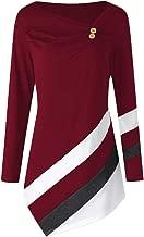 Chaofanjiancai Women Long Sleeve Striped Asymmtrical Tunic Tops Plus Size Casual Button Blouse T-Shirts